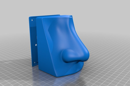 A blue fake nose is seen in a 3D model setting.