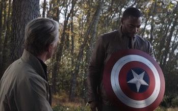 Old man Steve Rogers and Sam Wilson in Avengers: Endgame.