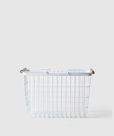 Medium White Metal Storage Basket