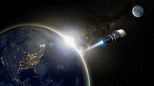 A rendering of a nuclear powered space craft entering space from Earth