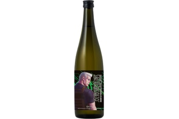 A bottle of sake with Ghost In The Shell character Batou on it.