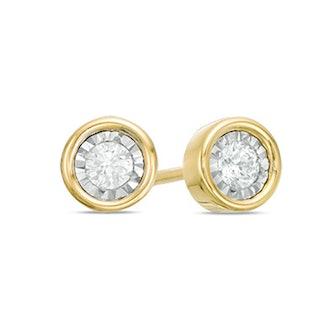 1/8 CT. T.W. Diamond Solitaire Stud Earrings in 10K Gold