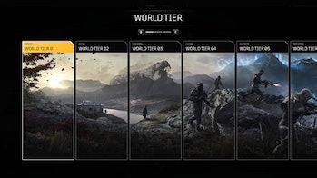 Outriders world tier menu