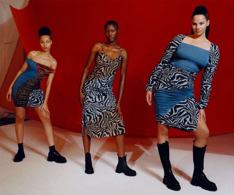 These three styles are from the new GANNI x Ahluwalia collaboration. The collection is full of colorblocking and animal printed styles, including zebra and cheetah print.