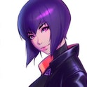 Ghost In The Shell character Motoko Kusanagi is seen in doubles. One with a full body shot, the other showing a close up of her face.