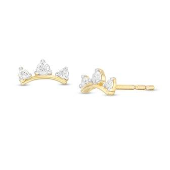 1/10 CT. T.W. Diamond Three Stone Curved Bar Stud Earrings in 10K Gold
