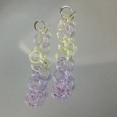 Long Lime & Lilac Chain Earrings