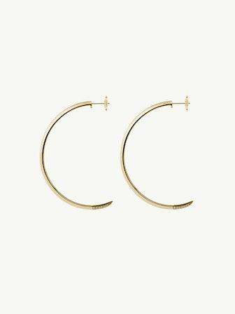 Asasara Pavé Champagne Diamond Tip Hoop Earrings