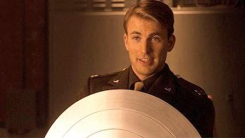 Chris Evans holding shield in Captain America: The First Avenger