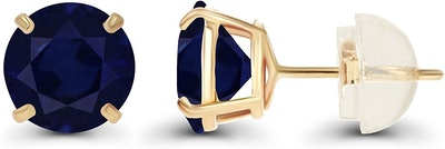 DECADENCE Solid 14-Karat Gold Blue Sapphire Earrings