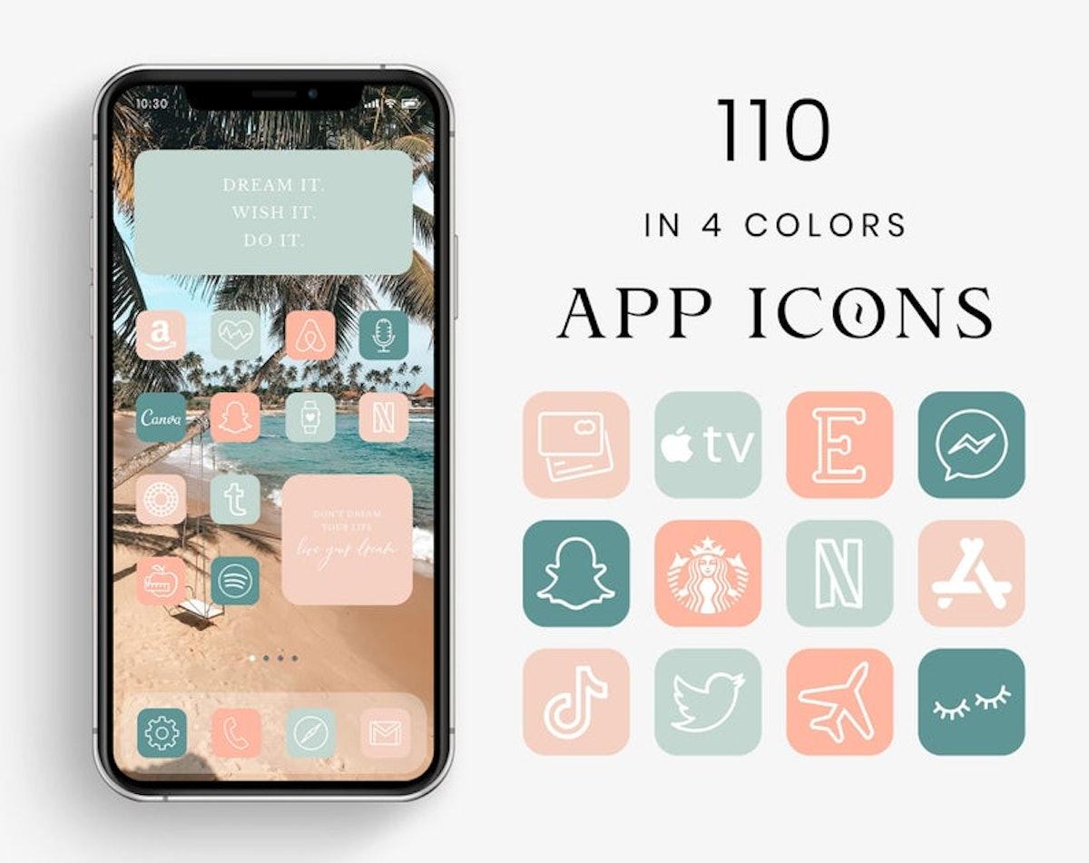 Summer Tones App Icons Aesthetic, App Icons For iOS 14 — LunariseStudio