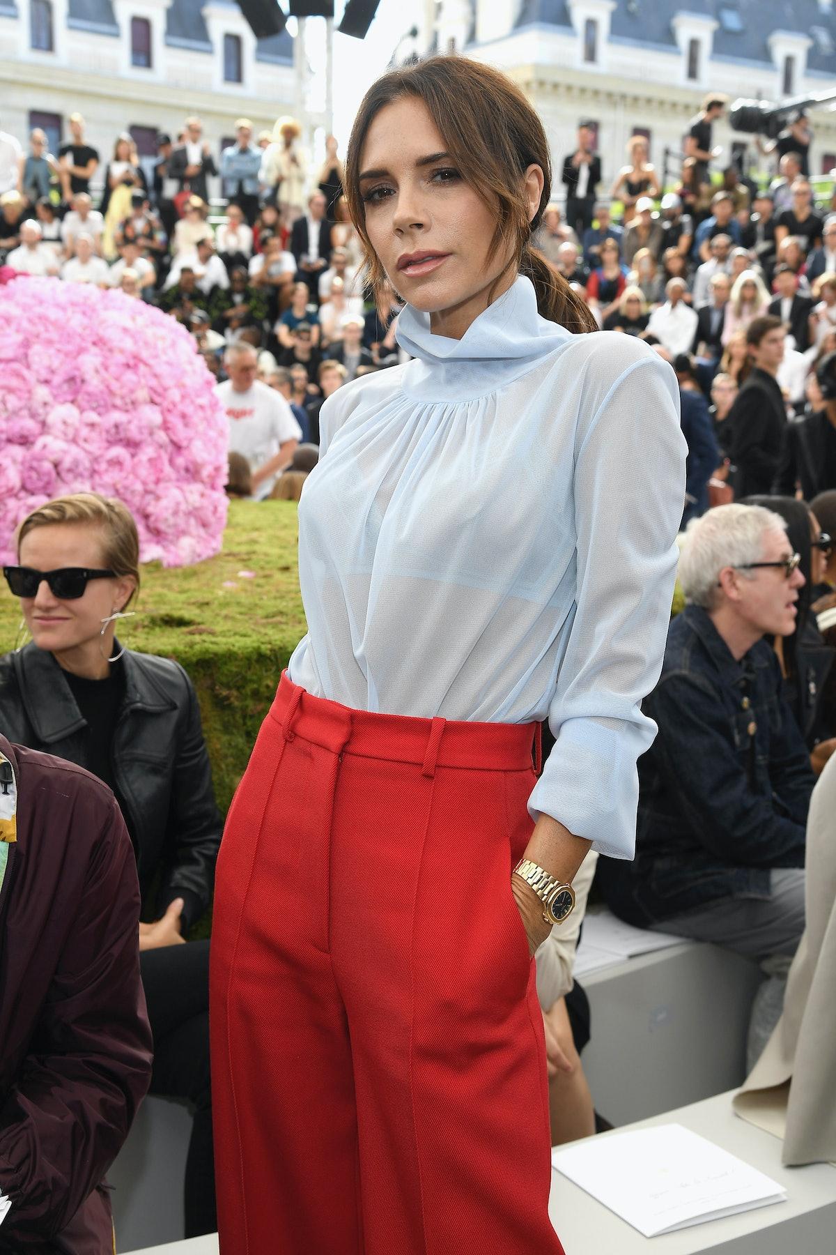 PARIS, FRANCE - JUNE 23: Victoria Beckham attends the Dior Homme Menswear Spring/Summer 2019 show as...