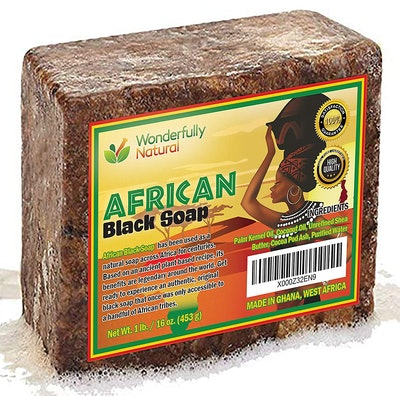 Wonderfully Natural Organic African Black Soap (1 lb Bar)