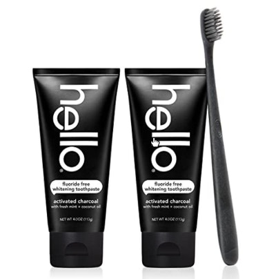 Hello Oral Care Activated Charcoal Teeth Whitening Toothpaste (2-Pack) & Toothbrush