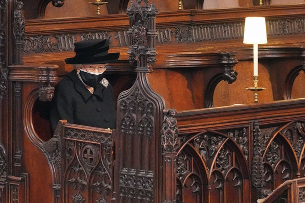 Queen Elizabeth at Prince Philip's funeral.