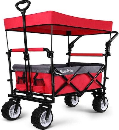 BEAU JARDIN Folding Push Wagon Cart with Canopy