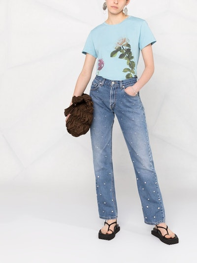 Semicouture Crystal-Embellished Jeans