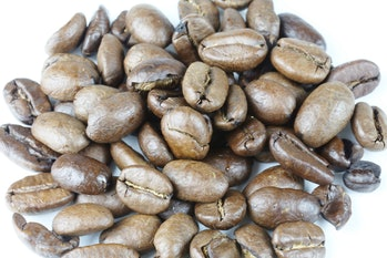 Arabica coffee beans on a white background