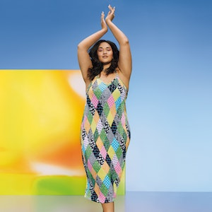 Model wearing a RIXO dress from Target's Spring 2021 Designer Dress Collection.