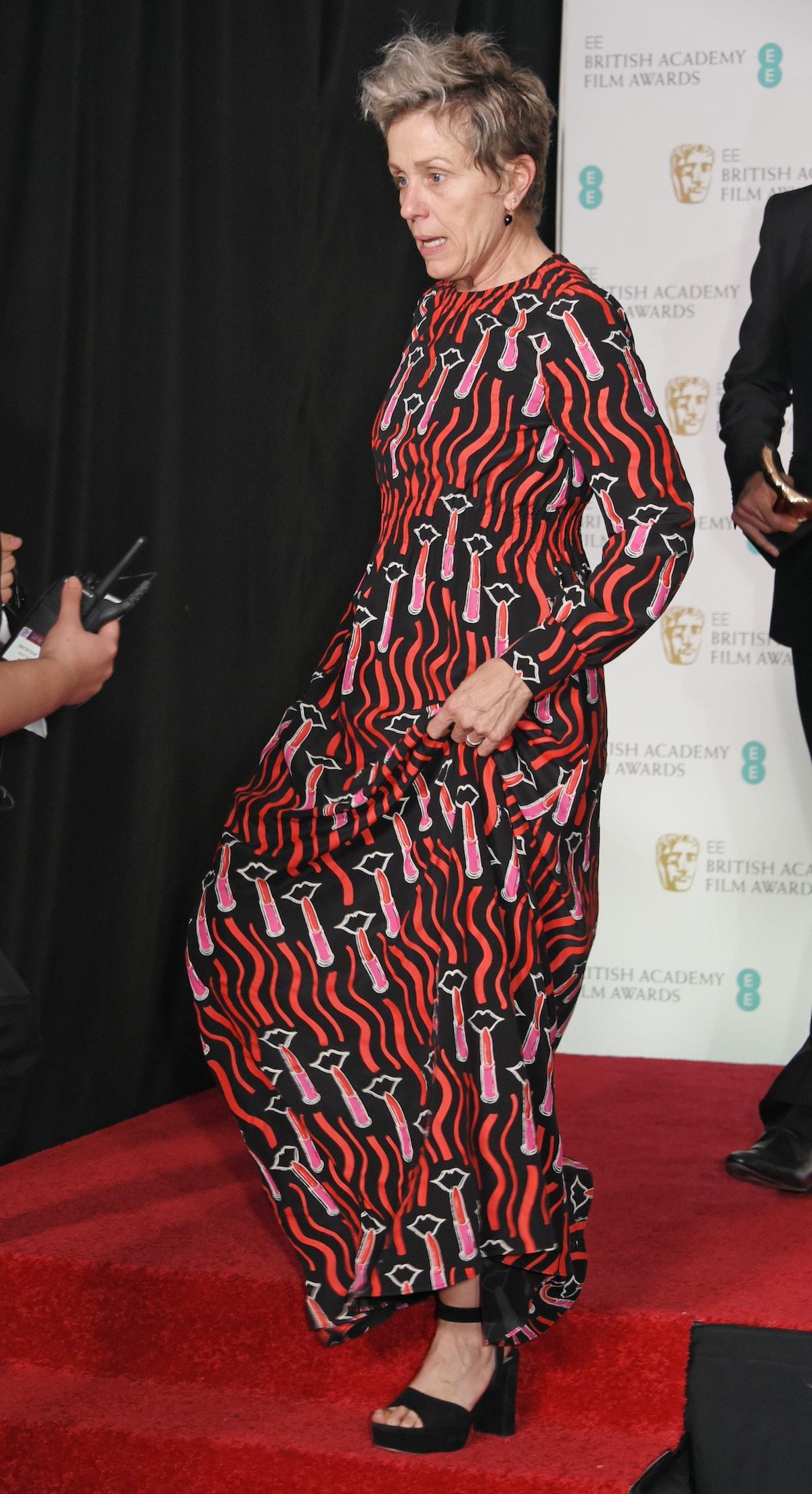 Frances McDormand wearing a patterned dress