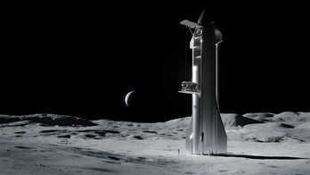 Older concept art of SpaceX's Starship on the Moon.