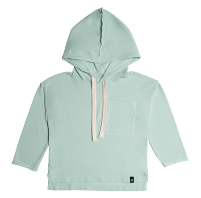 Drop Shoulder Hooded Pullover in Ocean