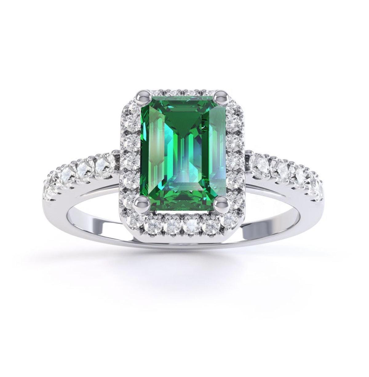 Princess Emerald Cut Emerald Halo 10K White Gold Engagement Ring