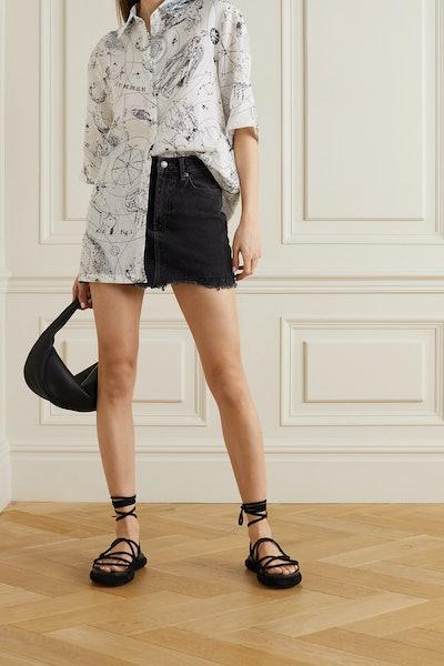Ksubi Model Distressed Denim Mini Skirt