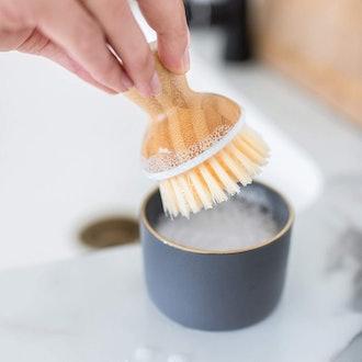 Full Circle Bubble Up Ceramic Soap Dispenser & Bamboo Dish Brush