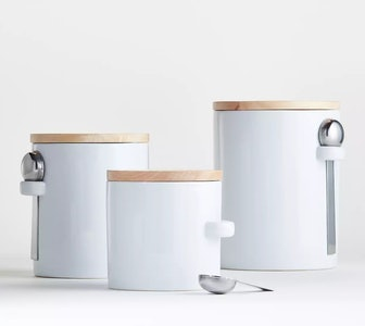 White Ceramic Canisters with Scoop