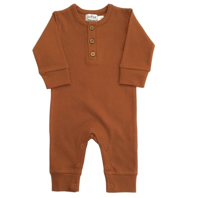 Organic Coverall Romper in Ginger