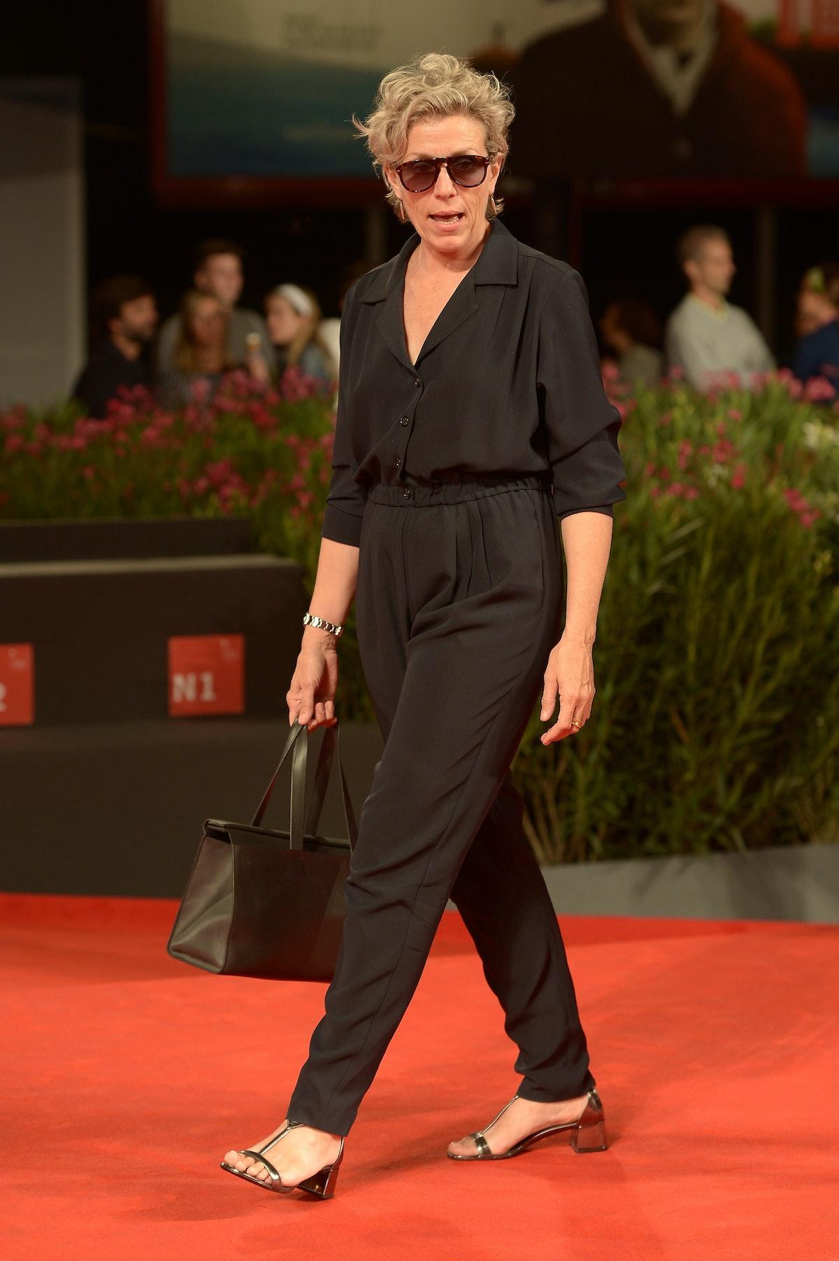 Frances McDormand in a black jumpsuit