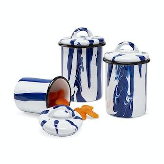 Striped Enamel  Blue Jars