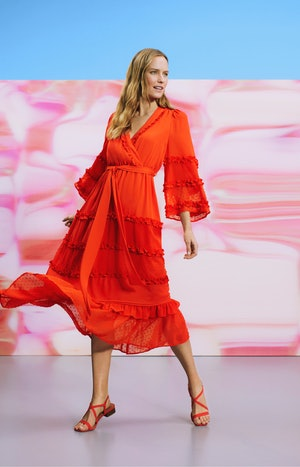 Model wearing an ALEXIS dress from Target's Spring 2021 Designer Dress Collection.