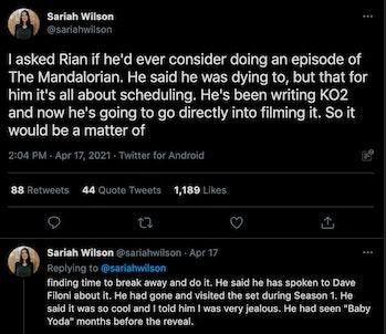 Rian Johnson Sariah Wilson Mandalorian Last Jedi