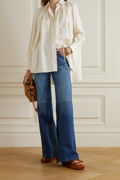 Victoria Beckham Patchwork High-Rise Flared Jeans