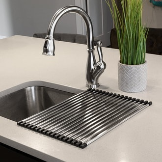 """Ticor Stainless Steel Roll-Up Over-The-Sink Drying Rack (18"""" x 12"""")"""
