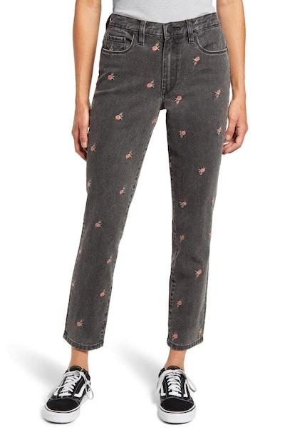 BlankNYC Rosebud Embroidered High Waist Crop Slim Jeans