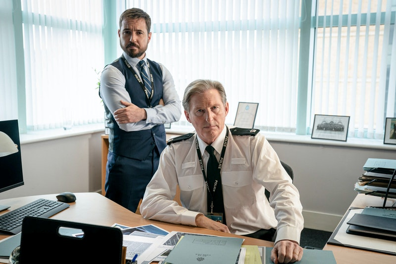 Line Of Duty's DS Steve Arnott (MARTIN COMPSTON) and Superintendent Ted Hastings (ADRIAN DUNBAR)
