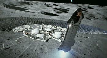 SpaceX's Starship lunar base concept art.