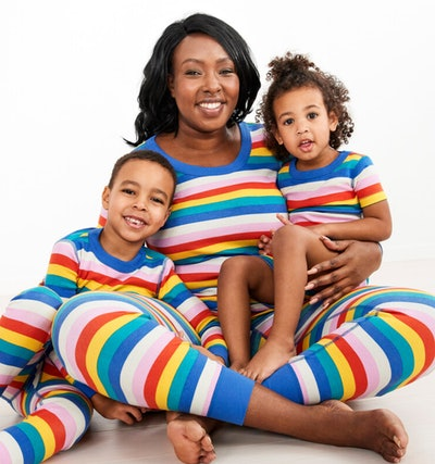 Rainbow Stripe Long John Pajamas In Organic Cotton (Kids)