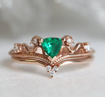 Emerald Trilliant Cut Engagement Ring
