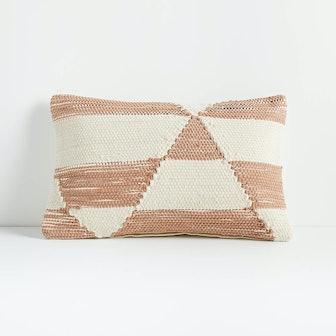 "Kyson White and Peach Pillow 16""x24"""