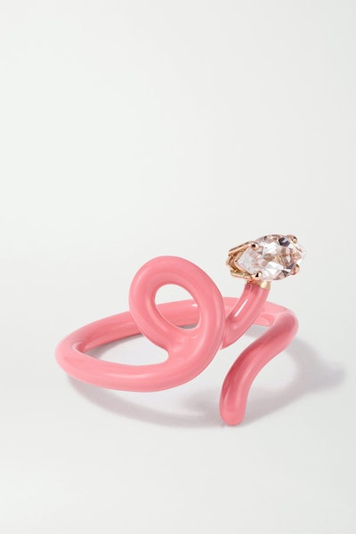 Baby Vine Tendril Rose Gold, Enamel and Rock Crystal Ring