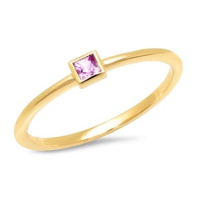 Pink Sapphire Princess Cut Pinky Ring