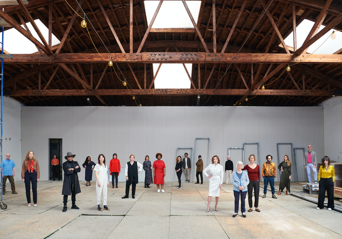 Dia director Jessica Morgan (fifth from right) and board chair Nathalie de Gunzburg (center right,  ...