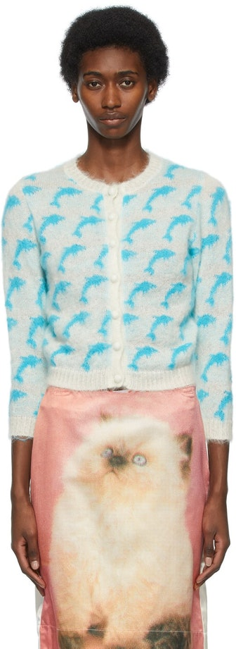 Off-White & Blue Mohair Dolphin Cardigan