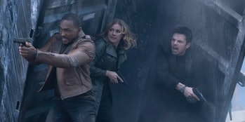 Anthony Mackie, Emily VanCamp, and Sebastian Stan in The Falcon and the Winter Soldier Episode 3