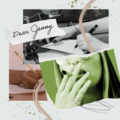 """""""Dear Jenny"""" collage with a woman's hand writing a letter and a woman smoking a joint."""