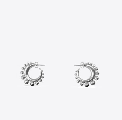 Tiny Khartoum Hoops Embellished in Sterling Silver